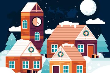 ��意冬季夜晚房屋�L景矢量素材