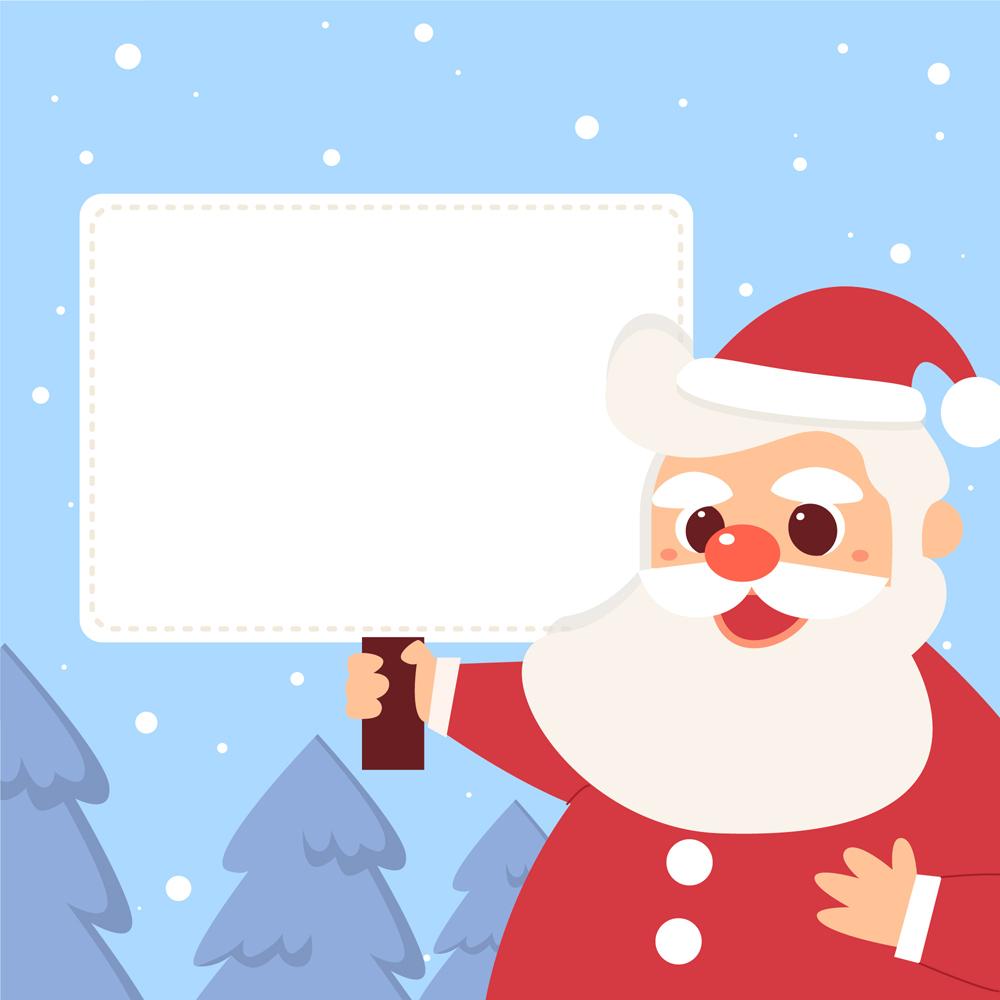 卡通举白纸板的圣诞老人矢量素材