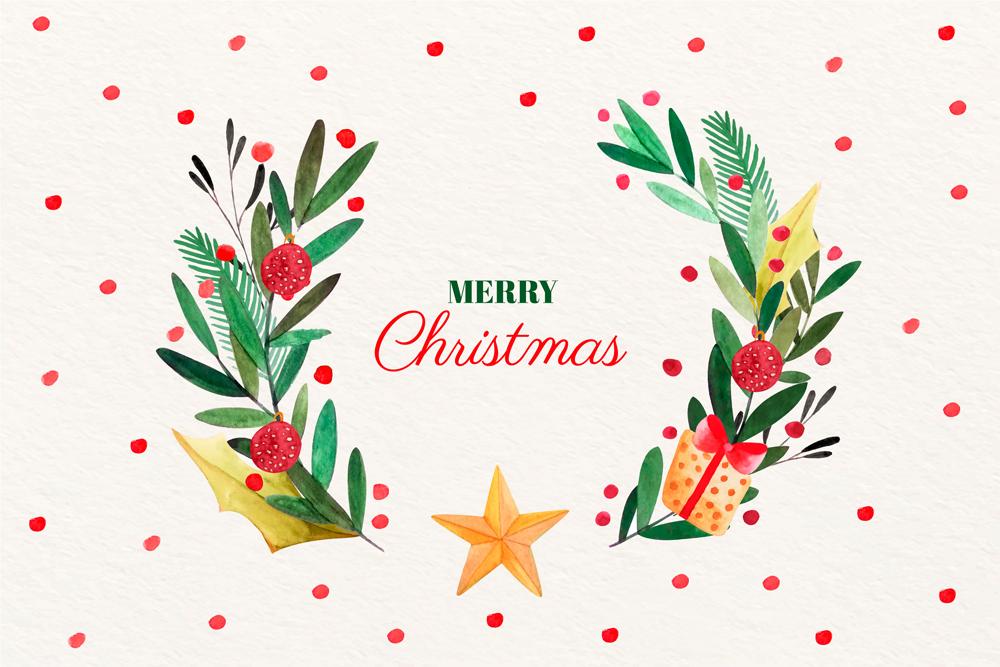 彩绘圣诞节花束矢量素材