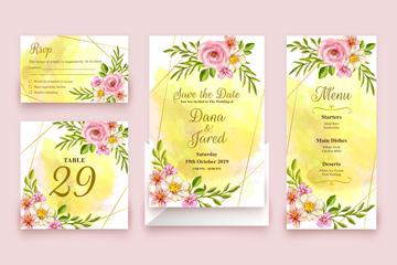 4款彩�L粉色花卉婚�Y卡片矢量素材