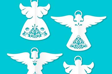 4款白色天使剪�矢量素材