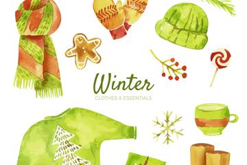 12款水彩�L�G色冬季物品矢量素材