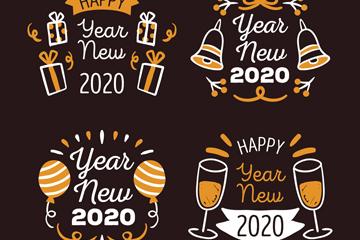 4款2020年新年快�匪��g字�撕�矢量素材