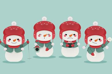 4��可�郯咨�雪人矢量素材