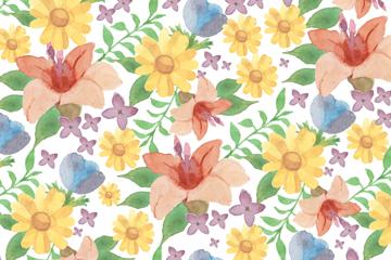 水彩花卉�o�p背景�O�矢量素材