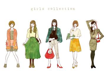 5款彩繪時尚女性設計矢量素材