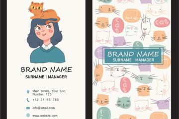 彩繪女子和貓咪商務卡片矢量素材