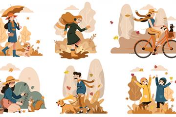 6組創意秋季外出游玩的人物矢量
