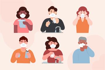 6款创意预防新冠肺炎人物矢量素