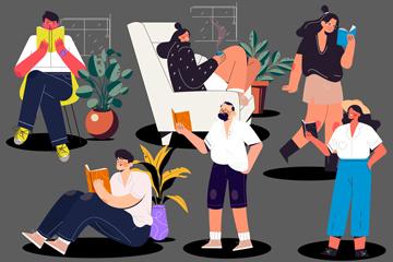 6款创意阅读人物设计矢量素材