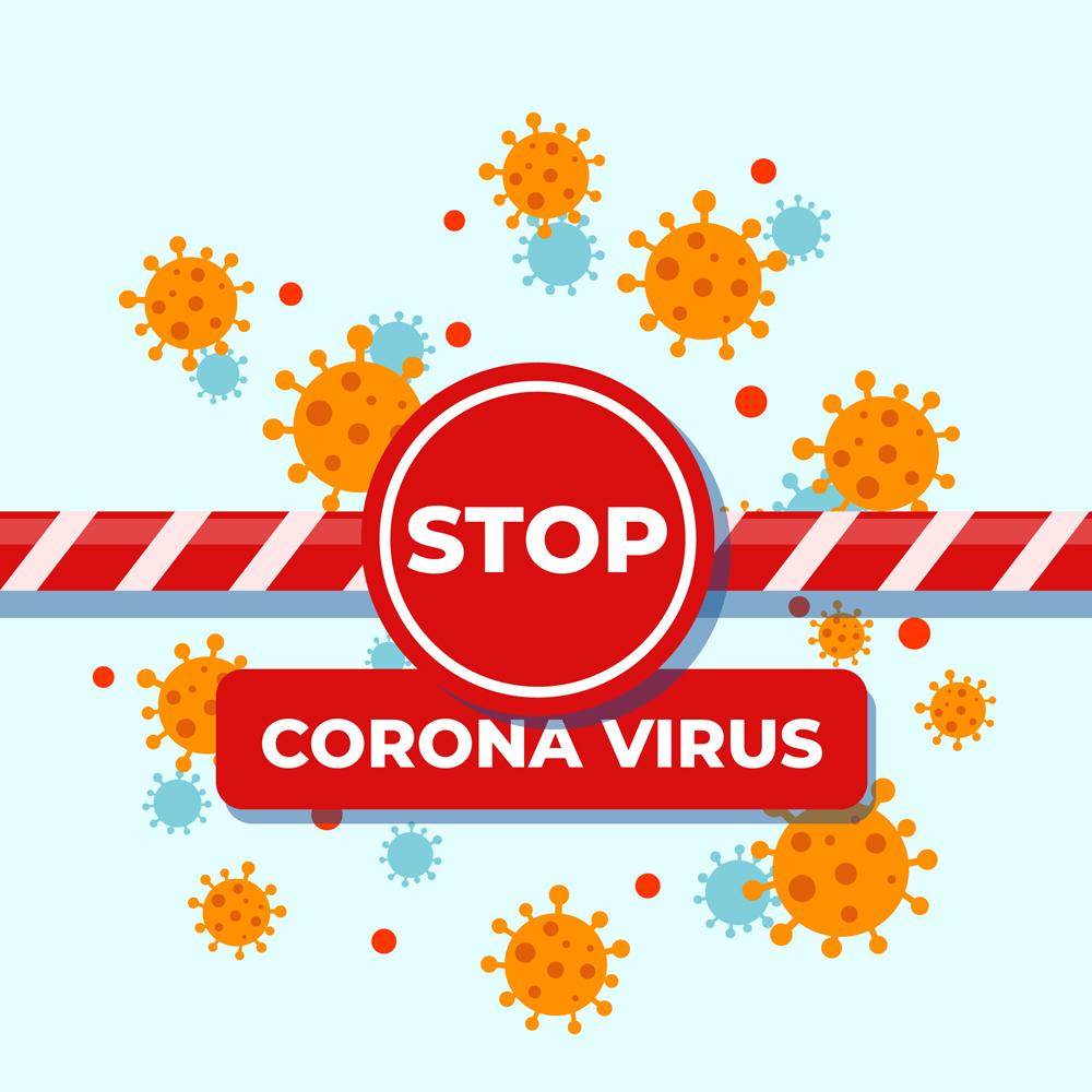 创意阻止新型冠状病毒警示牌矢量图图片