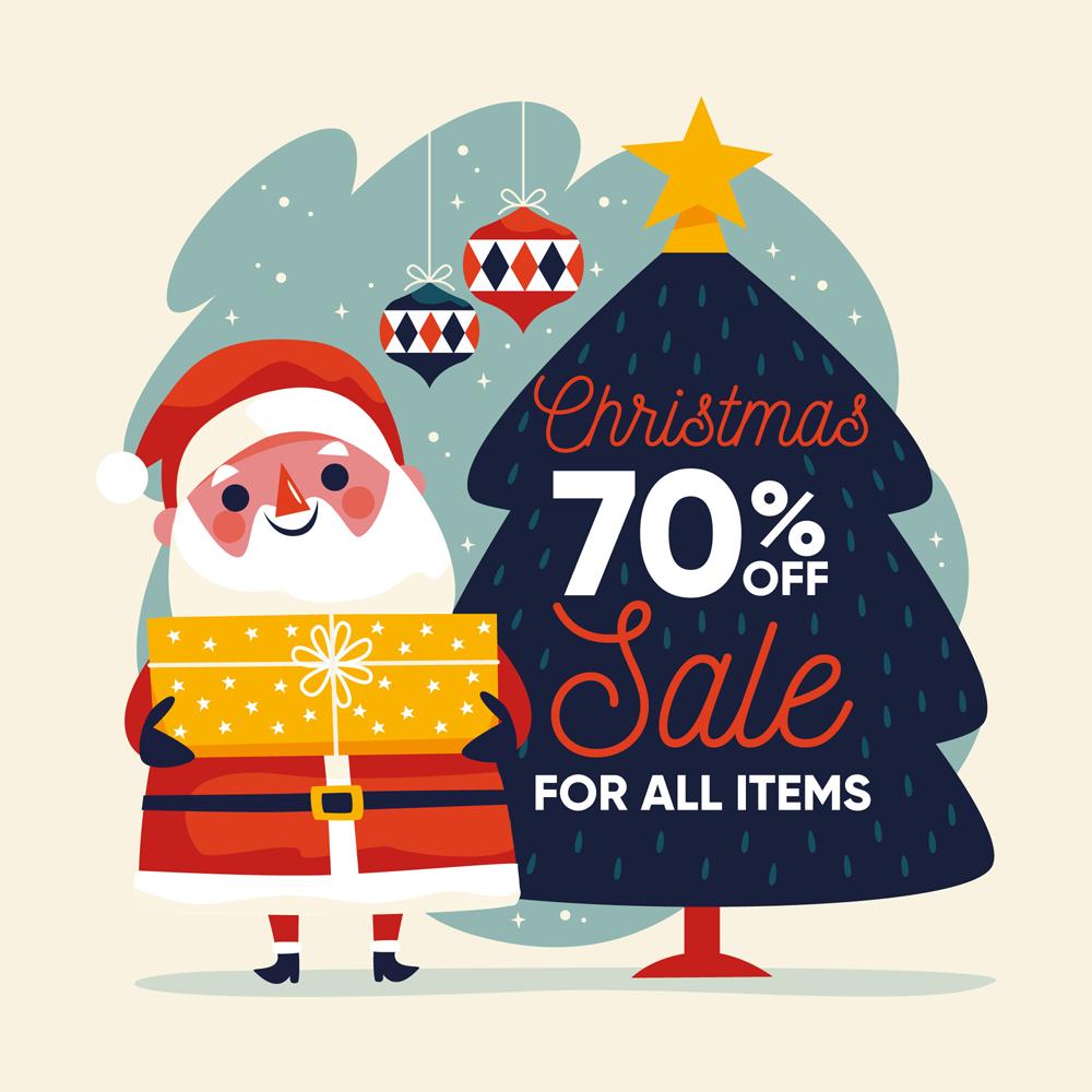 创意抱礼物的圣诞老人促销海报矢量图