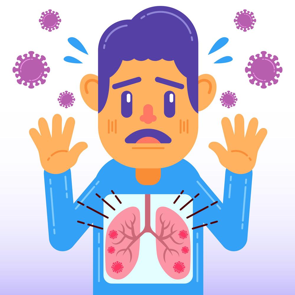 创意被新型冠状病毒攻击肺部的男子矢量图图片