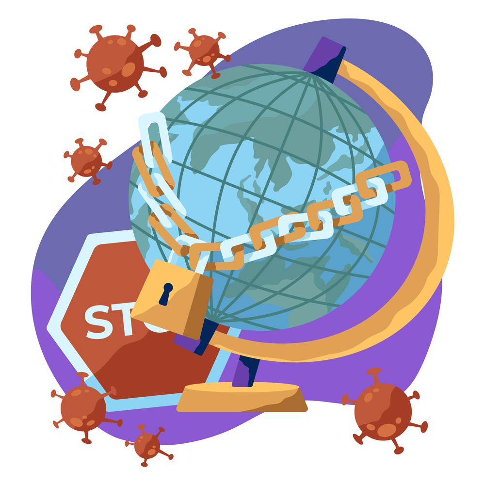创意被新型冠状病毒封锁的地球矢量图图片