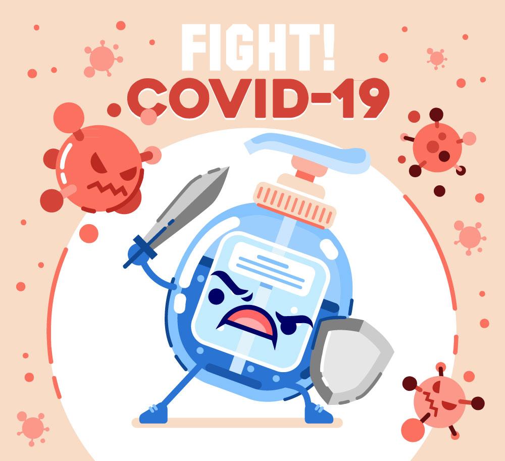 创意对抗新型冠状病毒的洗手液矢量图_矢量卡通_懒人图片