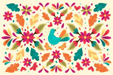 彩色花卉和�B�o�p背景�O�矢量素材
