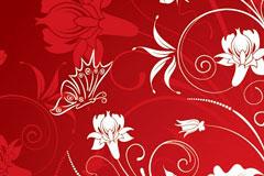 红色矢量蝴蝶和花纹素材