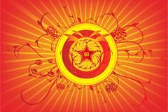 国庆60周年矢量花纹素材下载