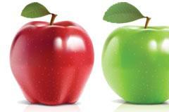 可与照片媲美的青苹果和红苹果矢