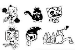 6款黑白风格卡通形象矢量图