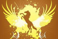 AI格式马和翅膀矢量花纹素材