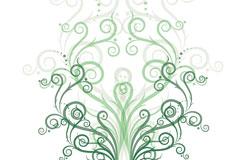 绿色对称矢量花纹素材