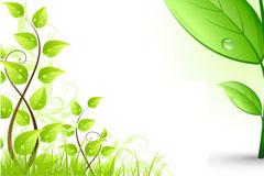 春天小草和树叶矢量素材