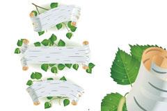 3款白桦树风格绿叶子标题背景矢量图