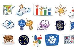 韩国线条风格天气卡通矢量元素
