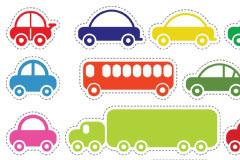 多款玩具汽车和大巴矢量图