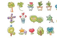 韩国绿色植物卡通矢量元素