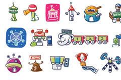 韩国游乐园卡通矢量元素