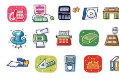 韩国办公用品卡通矢量元素