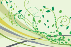 绿色动感线条与时尚花纹矢量素材