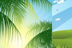 椰子树和彩虹云朵矢量素材