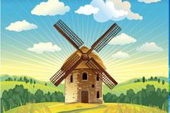 荷兰风车和风力发电矢量素材下载