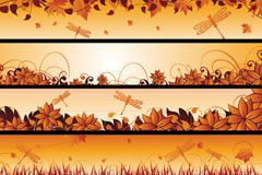 4款精美的秋天banner矢量素材