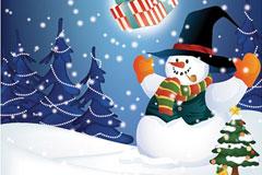 圣诞雪人和圣诞礼物的矢量图