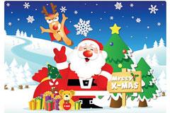 圣诞老人和鹿的矢量图下载