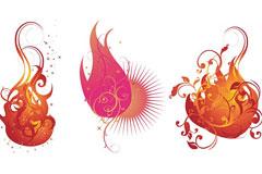 三个矢量火状花纹素材