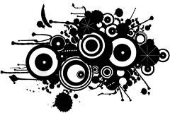 黑白矢量潮流圆和墨迹的设计素材