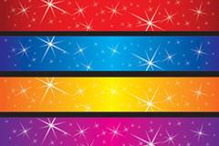 4款彩色背景星星矢量素材