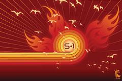 五一中国火矢量素材下载
