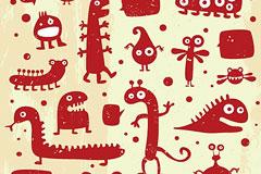 AI格式红色涂鸦小怪物矢量素材