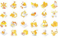 60个金色的韩国矢量图标