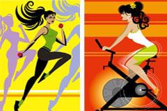 四款流行健身运动矢量素材