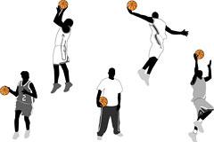 一组最具代表性的篮球动作剪影矢量素材