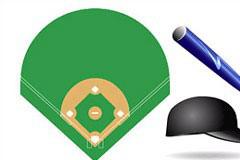 棒球运动器材及场地矢量素材