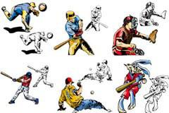 一组动漫风格的棒球运动矢量素材