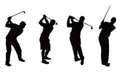 一组AI格式高尔夫动作剪影矢量素材